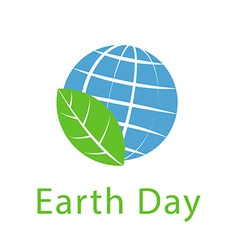 Globe and leaf earth day icon ecology logo vector