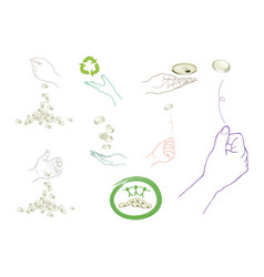 hand with recycling symbol for save the world vector image vector image