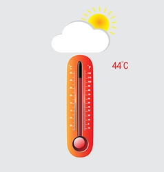 Hot thermometer on a gray background vector image vector image