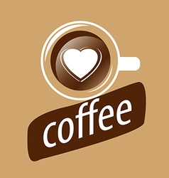 logo cup of coffee and heart vector image