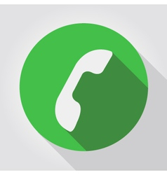 Phone icon green flat design vector image