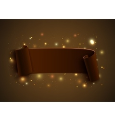Realistic curved ribbon on brown background with vector image