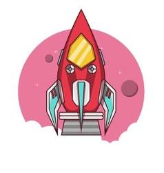Red rocket take off to the space vector image