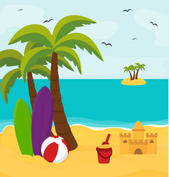 summer beach with island in the sea sunny holiday vector image