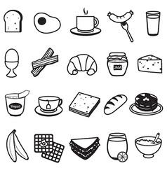 Basic Breakfast Icons Set vector image vector image