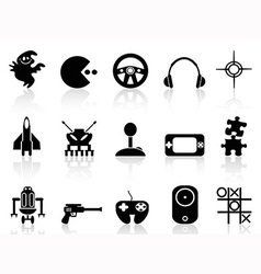 black computer game icon vector image vector image