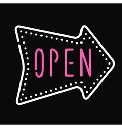 Classic open neon sign dark background business vector image vector image