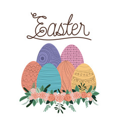 easter poster with eggs and ornament floral in vector image