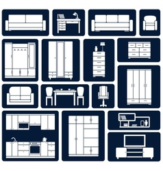 Flat office and home furniture silhouette icons vector image vector image
