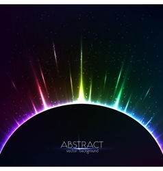 Rainbow shining light colorful cosmic sphere vector image