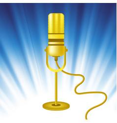 retro gold microphone icon vector image vector image