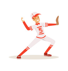 Smiling baseball player in a red uniform pitching vector