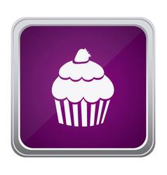 purple emblem muffin icon vector image