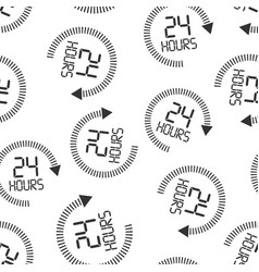 24 hours clock sign icon seamless pattern vector image