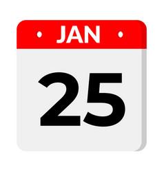 25 january calendar icon vector
