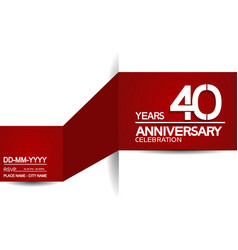 40 years anniversary design with red and white vector