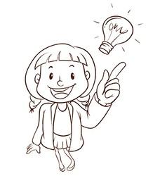A plain sketch of a smart girl vector image
