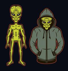 Alien in hoodie and full length body set vector