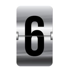 Alphabet silver flipboard letters 6 vector image