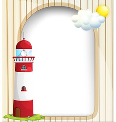 An empty template with a sun and a lighthouse vector image
