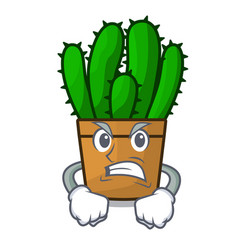 Angry spurge cactus plant isolated on mascot vector