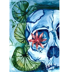 Aquarelle skull with lotus in the river vector