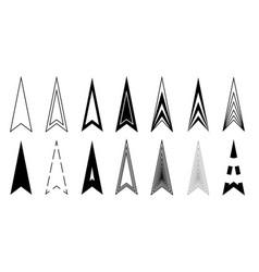 arrows long icons black triangle arrowhead vector image