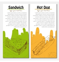 Banners of fast food design with hot dog and vector image