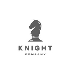 black chess knight horse stallion silhouette logo vector image