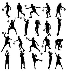 black silhouettes set of men playing basketball on vector image vector image