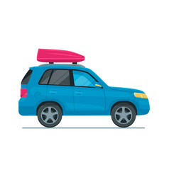 Blue suv flat car with red robox vector