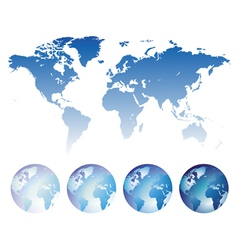 Blue world map and globes vector image