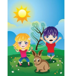 Boy and Girl on Lawn3 vector image vector image