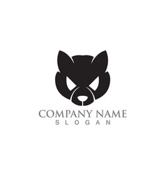 Cat and dog silhouettes logo template vector