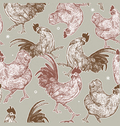 Chicken collection seamless pattern hand draw vector