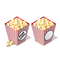 cinema isometric icon striped popcorn bucket vector image