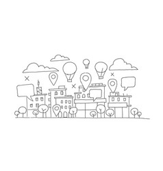 City panorama sketch balloon in the sky vector