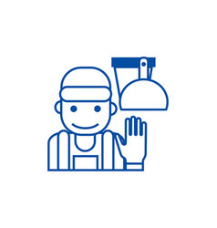 cleaning service line icon concept vector image