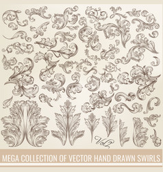collection of hand drawn flourishes engraved style vector image