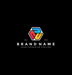 Colorful hexagon letter u logo design vector