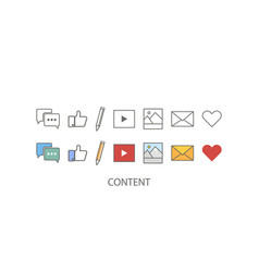 content set marketing icon content icon in flat vector image