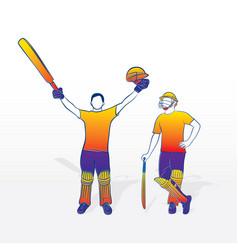 Cricket player celebrate success vector