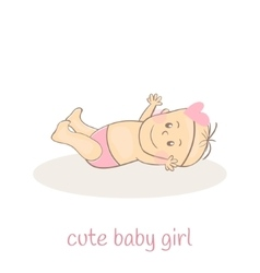 Cute little baby girl Newborn baby icon Smiling vector image