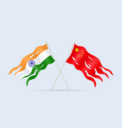damaged flag india and china a symbol conflict vector image