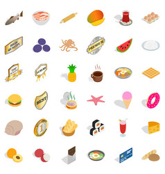 delicious dishes icons set isometric style vector image