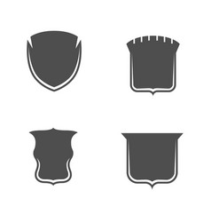 Empty monochrome shields collection vector