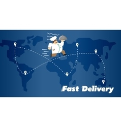 Fast delivery banner Chef in uniform with cloche vector image