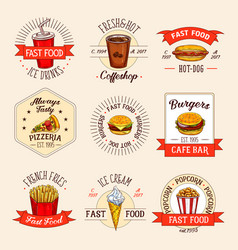fast food restaurant menu icons vector image