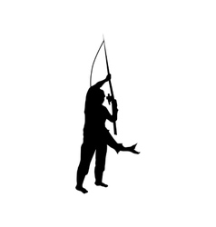 Fisherman silhouette black vector image