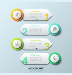four separate white round elements with thin line vector image